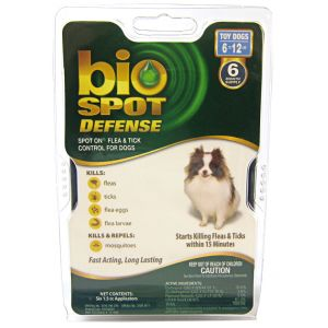Bio Spot Defense Spot On Flea and Tick Control for Dogs: 6 Month Supply Toy Dogs 6-12 lbs #100505041 - Flea and Tick Drops for Dogs Best Price