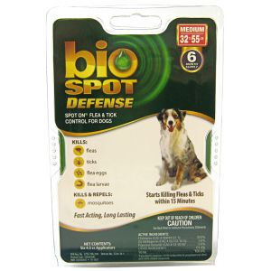 Bio Spot Defense Spot On Flea and Tick Control for Dogs: 6 Month Supply Medium Dogs 32-55 lbs #100505043 - Flea and Tick Drops for Dogs Best Price