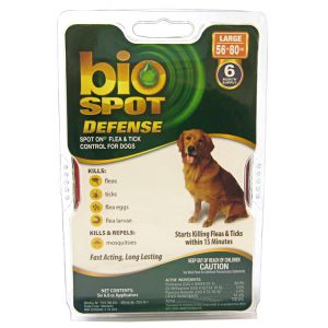 Bio Spot Defense Spot On Flea and Tick Control for Dogs: 6 Month Supply Large Dogs 56-80 lbs #100505044 - Flea and Tick Drops for Dogs Best Price