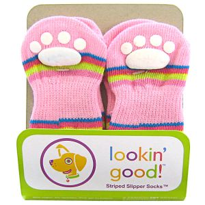Fashion Pet Solid Slipper Socks - Pink - Dog Boots Best Price