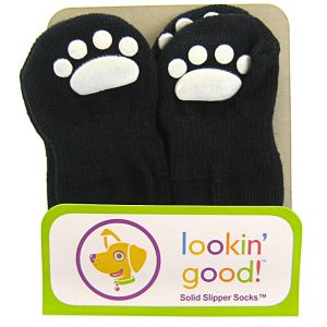 Fashion Pet Solid Slipper Socks - Black: Small Black #582JSM - Dog Boots