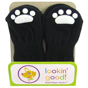 Fashion Pet Solid Slipper Socks - Black: Medium Black #582JMD - Dog Boots Best Price