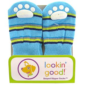 Fashion Pet Solid Slipper Socks - Blue: Large Blue #582BLG - Dog Boots Best Price