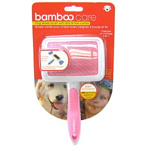 Bamboo Slicker Brush with Flea and Fine Combs - Dog Grooming Brushes Best Price