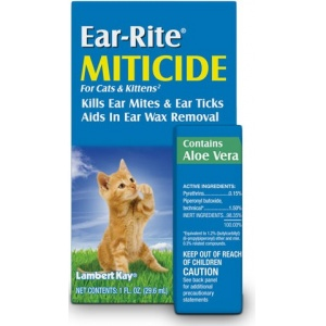 Lambert Kay Ear-Rite Miticide for Cats: 1 oz #51108 - Ear Care for Cats Best Price