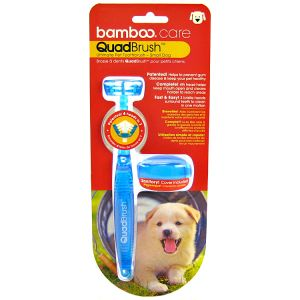 Bamboo QuadBrush Ultimate Pet Toothbrush: Small Dog #810268 - Dog Dental Care Best Price