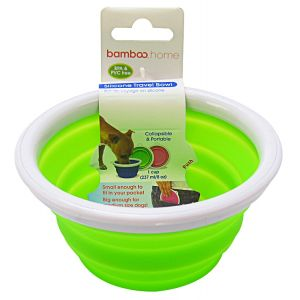 Bamboo Silicone Travel Bowl: 1 Cup #810281 - Dog Travel Bowls and Waterers Best Price