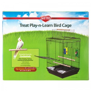 Super Pet Treat Play-n-Learn Cockatiel Cage: 1 Pack - 16L x 16W x 23H - (28 With Playtop Open) #100505917 - Bird Cages Best Price