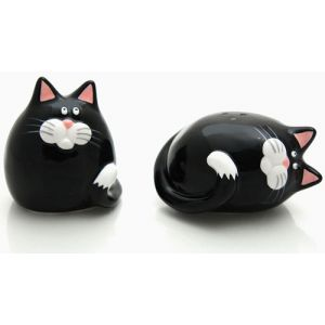 Our Name is Mud Fat & Happy Cat Salt & Pepper Set #27623 - Salt And Pepper Mills