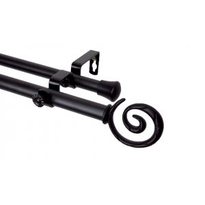 Rod Desyne Double Curtain Rod with Spiral Finial in Black, Satin Nickle and Antique Brass 4 Sizes: 28-170 inch: 120-170 inch Double Curtain Rod Black