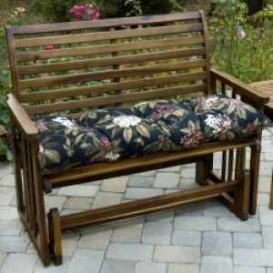 46 Inch Outdoor Swing/Bench Cushion: 46 inch Outdoor Swing/Bench Cushion, Midnight Floral