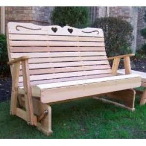 4' Cedar Country Hearts Rocking Glider Natural