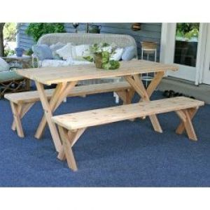4' Backyard Bash Cross Legged Picnic Table Natural