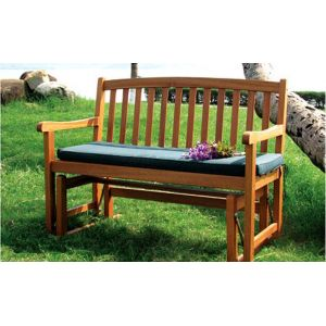 2 Person Acacia Glider Bench Natural Wood Stain