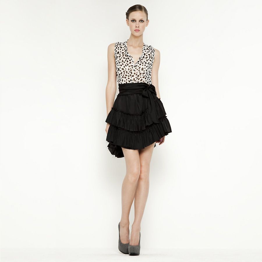L'Agence Ruffled Skirt :  lagence ruffled skirt silk skirt ruffled skirt skirts