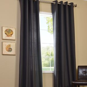 Half Price Drapes Charcoal Cotenza Faux Cotton Grommet Curtain Panel