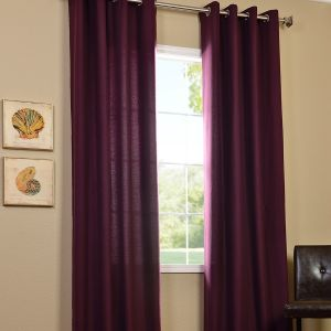 Half Price Drapes Grape Cotenza Faux Cotton Grommet Curtain Panel: 50