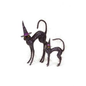 CC Christmas Decor Pack of 4 Black Halloween Cats Wearing Witches Hats Table Top Figures