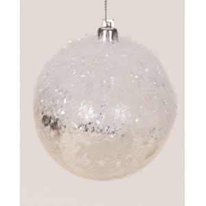 Roman Pack of 12 Sweet Memories Snowball White Tinsel Christmas Ornaments 3.5
