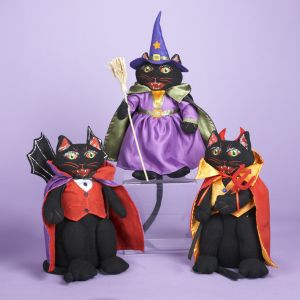 KSA Pack of 6 Fabric Halloween Cat Decorative Table Top Figures