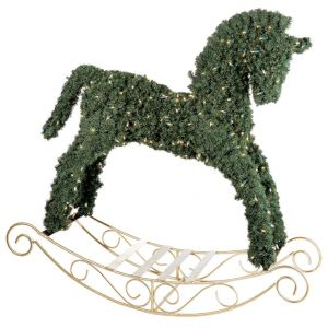 pre lit topiary rocking horse christmas decoration - Christmas Horse Yard Decorations