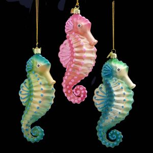 ksa pack of 12 noble gems blown glass tropical seahorse christmas ornaments 525 dksa nb0475 christmas ornaments - Seahorse Christmas Ornament