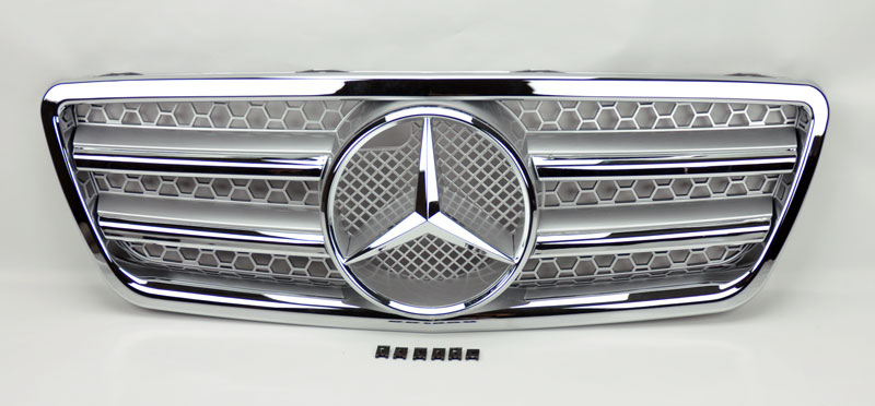 Mercedes e class w210 00 02 front silver chrome amg for Mercedes benz custom grills