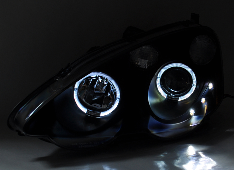 Acura RSX 02-04 Integra DC5 Black Projector LED Halo Angel Eye Headlights Pair | eBay