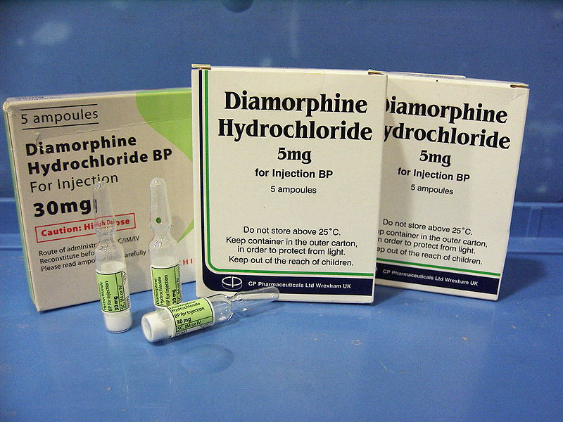 Fig 1 - Opoid analgesics, such as diamorphine hydrochloride, can induce nausea and vomiting.