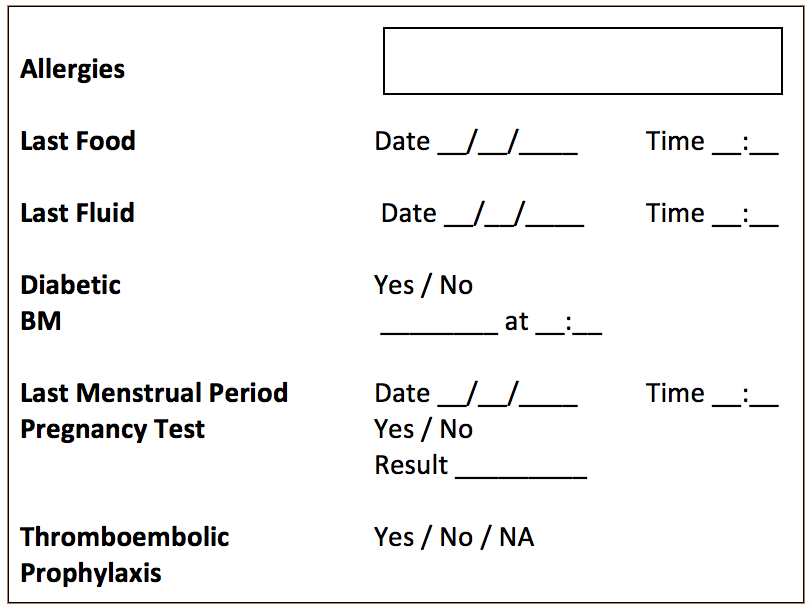 Fig. 1 - Example Nursing Checklist
