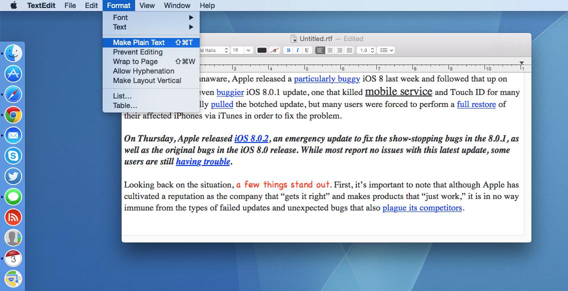 OS X TextEdit