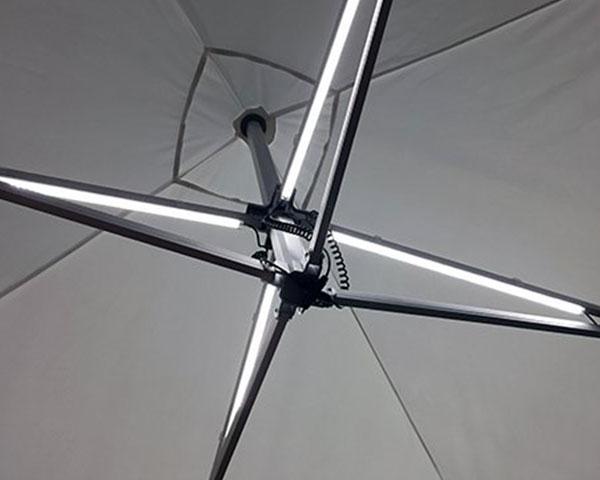 TentCraft lighting kit installed inside heavy-duty pop-up tent.
