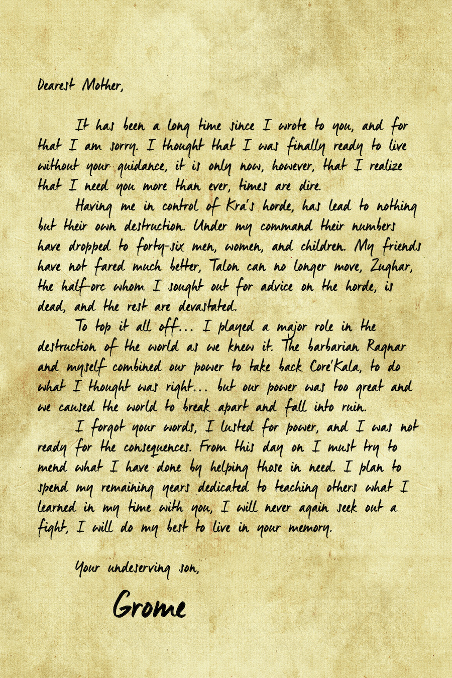 Grome final letter