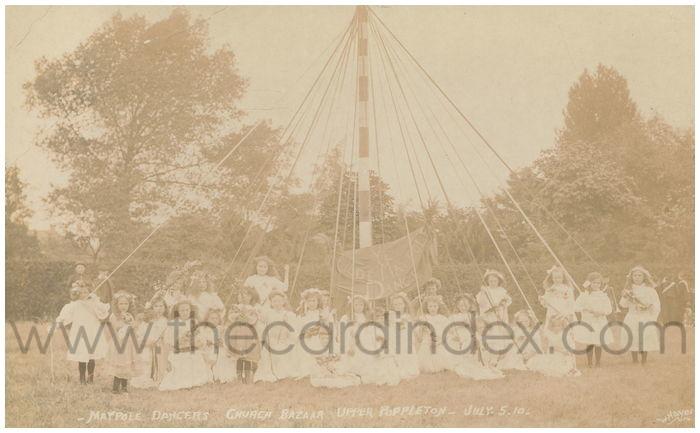 Postcard front: Maypole Dancers Church Bazaar Upper Poppleton July 5.10