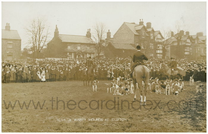 Postcard front: York & Ainsty Hounds at Clifton