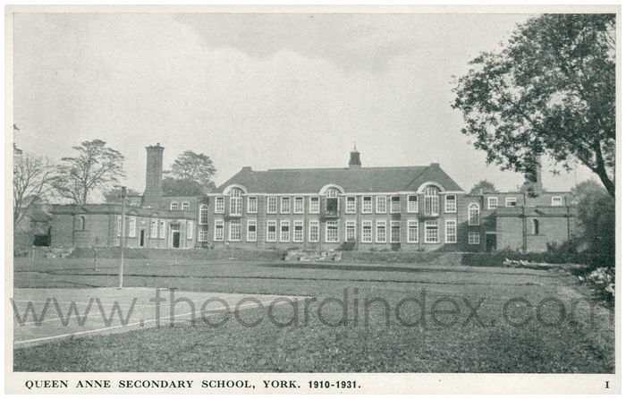Postcard front: Queen Anne Secondary School, York. 1910-1931