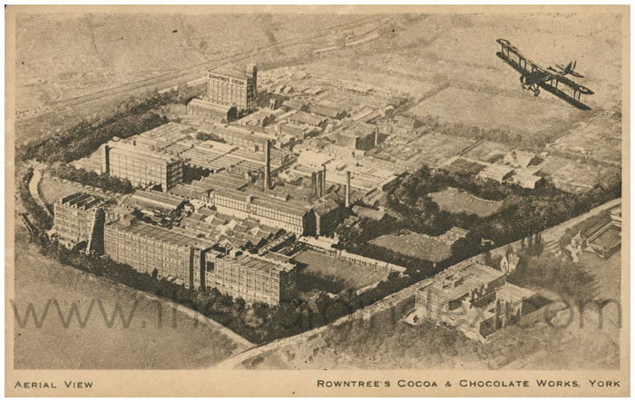 Postcard front: Aerial View Rowntree's Cocoa & Chocolate Works, York