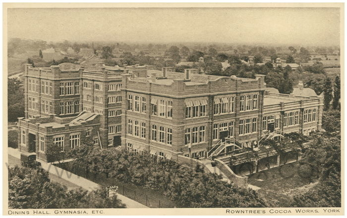 Postcard front: Dining Hall, Gymnasia, etc Rowntree's Cocoa Works, York