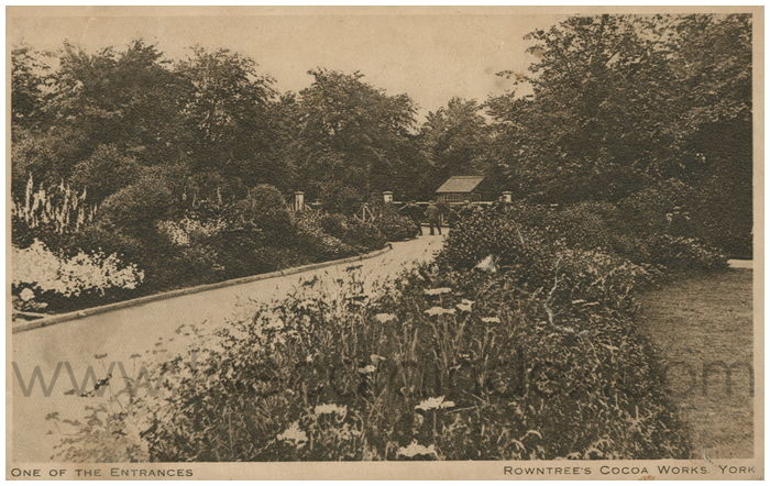 Postcard front: One of the Entrances Rowntree's Cocoa Works, York