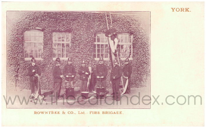 Postcard front: Rowntree & Co., Ltd - Fire Brigade