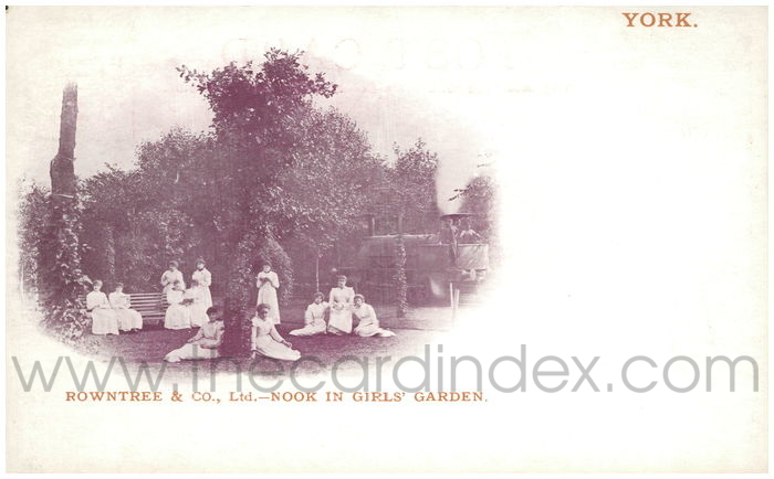 Postcard front: Rowntree & Co., Ltd. - Nook in Girls' Garden
