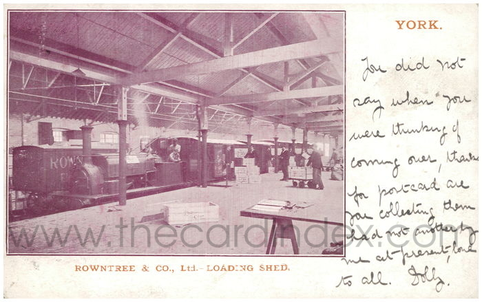 Postcard front: Rowntree & Co., Ltd. - Loading Shed