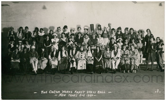 Postcard front: - The Cocoa Works Fancy Dress Ball - New Years Eve 1920 -
