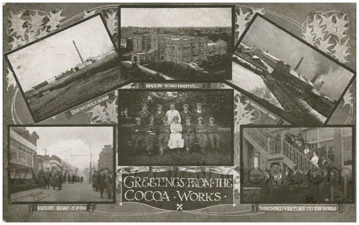 Postcard front: Greetings from the Cocoa Works