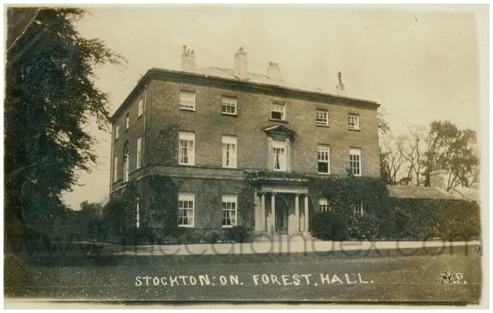 Postcard front: Stockton. On. Forest. Hall.