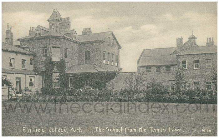 Postcard front: Elmfield College, York - The School from the Tennis Lawn