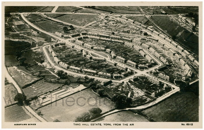 Postcard front: Tang Hall Estate York, From the air