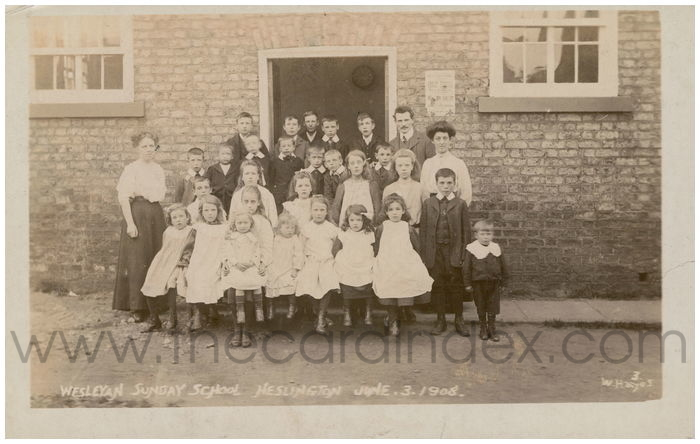 Postcard front: Wesleyan Sunday School Heslington June.3.1908