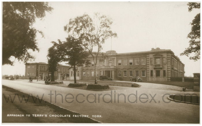 Postcard front: Approach to Terry's Chocolate Factory, York