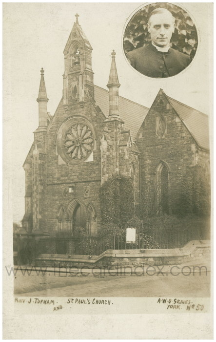 Postcard front: Rev. J.Topham and St. Paul's Church